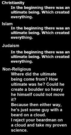 A chart displays views of early religions and how things came to be Religion Humor, Anti Religion, Religion And Politics, Flying Spaghetti Monster, Best Quotes, Funny Quotes, Beard Man, Daily Wisdom, Spiritual Beliefs