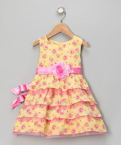 Take a look at this Pink Floral Tiered Dress - Infant by Nannette on #zulily today!