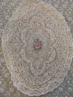 Antique Petitpoint Roses on French Net Lace Coverlet and Pillow Cover