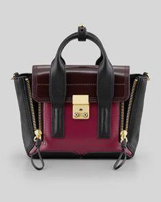 Phillip Lim Pashli Mini Leather Satchel Bag, Black/Oxblood