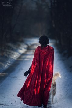 Little Red Riding Hood winter photo shoot with a haski