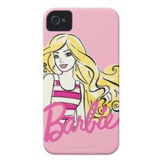 Barbie Illustration: Pink Striped Top iPhone 4 Cover