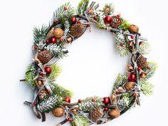 Christmas wreath of twigs and cones on the door, Front Door Wreath, Outdoor Wreath