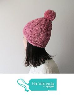 Hand Knitted Cable Chunky Beanie in Rose, Womens Pom Pom Hat, Beanie with Pom Pom, Seamless, Wool Blend, Winter Fall Accessories from NaryaBoutique https://www.amazon.com/dp/B01LHOWDHA/ref=hnd_sw_r_pi_dp_jEdYzbT3W6FG4 #handmadeatamazon