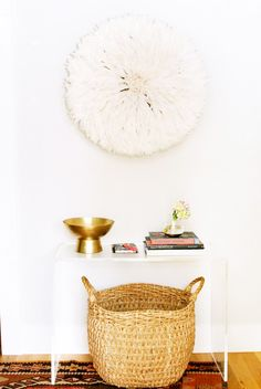 Entryway With Juju Hat and Lucite Console Table
