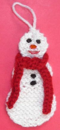knitted snowman ornaments - I made these last year and embroidered each person'a initial on it. I also hot glued white felt on the back to hide all my stitches.