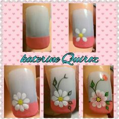 Uñas Daisy Nail Art, Daisy Nails, Flower Nail Art, Cute Nail Art, Cute Nails, Nail Art Hacks, Gel Nail Art, Nail Manicure, Gel Nails