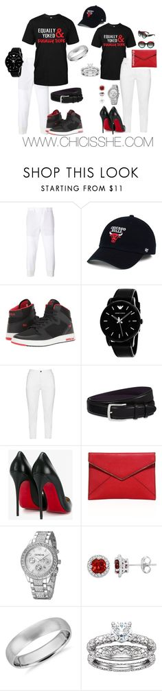 """Equally Yolked His/Her Set"" by chicisshe on Polyvore featuring Neil Barrett, '47 Brand, Supra, Giorgio Armani, Zhenzi, Elliot Rhodes, Christian Louboutin, Rebecca Minkoff, Blue Nile and Gucci"