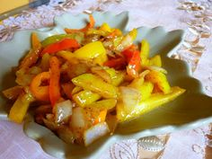 SWEET ONION PEPPER STIR-FRY   A colorful mosaic. I really love this vegetable dish, lowly as it may seem. To me it is almost like ha...