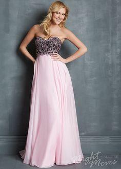 Night Moves 7102 - Black/Pink Beaded Strapless Chiffon Prom Dresses Online #thepromdresses