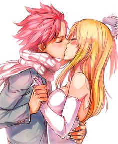 LUCY: ''I don't want you to go.'' NATSU: I need to go. I need to save the city.'' LUCY: ''I know darling, make sure you come back to me again.'' NATSU: ''Of course sugar, I promise.'' LUCY: ''Can I get a last kiss before you go?'' NATSU: I would love to give you a last kiss.''  *SMACK*