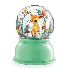 These glitter globe night lights by Djeco are a My Small Bestseller, especially for Newborn gifts. The fawn sits inside his glass globe amid a bower Glitter Globes, Snow Globes, Designers Guild, Bambi, Newborn Gifts, Baby Gifts, Childrens Lamps, Gaspard, Peekaboo Highlights