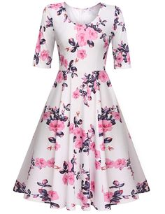 Meaneor Women's Half Sleeve Swing Dress Floral Print Knee Long A Line Tea Dress -- You can get more details here : cocktail dresses