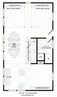 Tiny House Design: 512 SF with moving walls. Click through for more configurations.