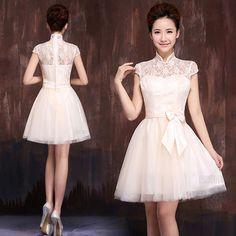 Mandarin collar white lace short A-line Chinese bridal wedding dress 001
