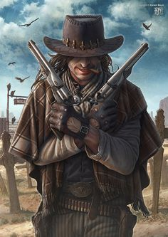 Gunslinger by kerembeyit cowboy fighter ranger armor clothes clothing fashion player character npc | Create your own roleplaying game material w/ RPG Bard: www.rpgbard.com | Writing inspiration for Dungeons and Dragons DND D&D Pathfinder PFRPG Warhammer 40k Star Wars Shadowrun Call of Cthulhu Lord of the Rings LoTR + d20 fantasy science fiction scifi horror design | Not Trusty Sword art: click artwork for source