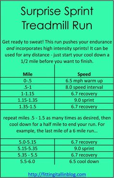 treadmill sprint workout: maybe I'll incorporate some of these tactics into my training or post training to mix things up a little!