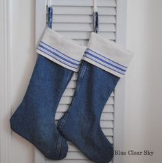 Blue Clear Sky: Denim and Linen Christmas Stockings