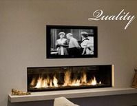 Linear Fireplace with TV | Linear Gas Fireplace with TV above and shelf below. Add a stone ...