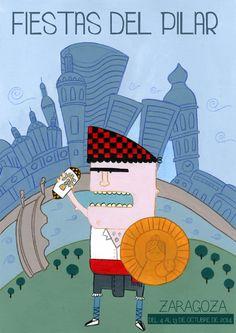 Cartel para las fiestas del Pilar, hecho con acrílico. Maño man y su escudo.