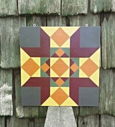 Church Window (fall colors) - 2' x 2' Barn Quilt Square Hand Painted on Wood