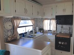 Great ideas for decorating a camper or RV.  She used gel tiles for her backsplash!  Lots of other posts on redecorating and DIY projects in her rv and small spaces