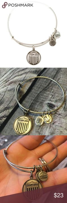 🇺🇸Alex & Ani🇺🇸 team USA bangle Excellent condition.  Discontinued/ limited edition bracelet produced for the Sochi Winter Olympics.  Rafaelian silver finish. No box or card included Alex & Ani Jewelry Bracelets