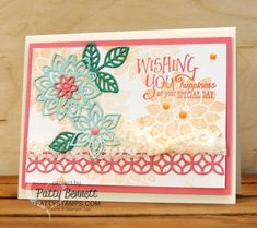 Stampin' Up! Flourishing Phrases flower card featuring Flourish Thinlit flowers, new 2016 In Colors, Flirty Flamingo ribbon, and new Vanilla Lace Trim by Patty Bennett at pattystamps.com