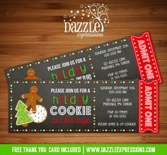 Printable Cookie Exchange Chalkboard Ticket Invitation | Christmas or Holiday Party | Dessert | Milk and Cookies | Santa Claus | FREE thank you card included | Printable Matching Party Decorations Available! |  Banner | Cupcake Toppers | Favor Tag | Food and Drink Labels | Signs |  Candy Bar Wrapper | www.dazzleexpressions.com