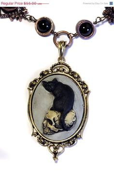 Steampunk Goth Jewelry - Necklace - Feline / Cat on Skull Cameo
