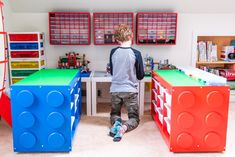 This is the ultimate IKEA Lego table hack! Turn a boring IKEA Trofast drawer unit into a giant Lego brick, with baseplate building surface on top, bins for organizing by color, and casters to wheel it around the playroom. Get the VIDEO and full tutorial at #thehandymansdaughter! #lego #legotable #ikealegotable #ikeahack Lego Table Ikea, Lego Desk, Lego Room, Mesa Lego, Trofast Ikea, Lego Minifigure Display, Lego Storage, Lego Table With Storage, Bin Storage