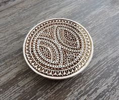 Large Mandala Stamp, Hand Carved Wood Stamp, Indian Printing Block, Flower Stamp, Round Wooden Circle Medallion Stamp, Clay Textile, India