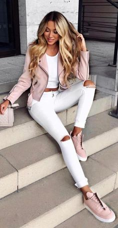 #Summer #Outfits / Pink Jacket + White Ripped Skinny Pants