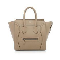Rental Celine Mini Luggage Tote ($325) ❤ liked on Polyvore featuring bags, handbags, tote bags, beige, celine handbags, beige purse, brown tote, celine purse and miniature purse