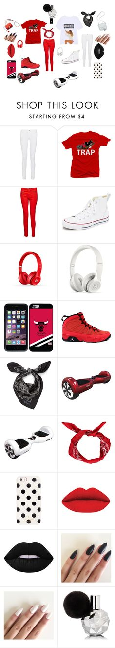 """""""Trap+Queen"""" by noelani-143 ❤ liked on Polyvore featuring Frame Denim, French Connection, Converse, Beats by Dr. Dre, Coveroo, Retrò, Alexander McQueen, Kate Spade and Lime Crime"""