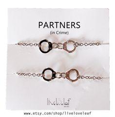 NEW Rhodium plated Handcuffs matching Partners in door LiveLoveLeaf