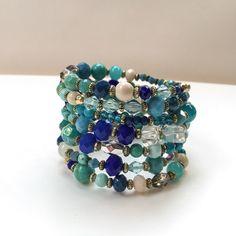 Stunning cold colours memory wire bracelet, blue, turquoise, royal blue, stone blue, 6 wrap bracelet, bohemian bracelet, boho