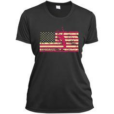 Female Tennis Player Silhouette On The American Flag Ladies Short Sleeve Moisture-Wicking Shirt