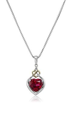 "Love Knot Sterling Silver and 14k Yellow Gold Diamond and Heart-Shaped Created Ruby Pendant Necklace, 18"" Amazon Collection http://www.amazon.com/dp/B0043RTQEW/ref=cm_sw_r_pi_dp_2TDewb1YJFMF5"