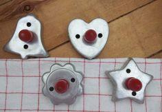Vintage Aluminum Cookie Cutters Red Handles