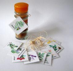 Nouveau - Etiquettes aquarelle pot à épices - Fait main : Cuisine et service de table par floartistique