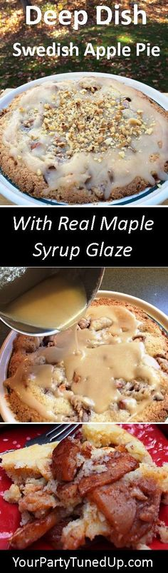 This Swedish Apple Pie is one of the easiest pies to make, no fussing with crust. The rustic deep dish pie is rich, buttery and always a crowd pleaser, even better with the maple glaze! Swedish Apple Pie, Swedish Dishes, Swedish Recipes, Apple Pie Recipes, Apple Desserts, Real Food Recipes, Baking Recipes, Desserts For A Crowd, Party Desserts