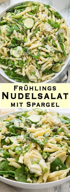 Frühlings-Nudelsalat mit Spargel This simply made spring noodle salad with asparagus tastes deliciou Antipasto Pasta Salads, Pasta Salad With Tortellini, Pasta Salad Italian, Pasta Salad Recipes, Pasta Primavera, Asparagus Salad, Asparagus Recipe, Healthy Salads, Easy Healthy Recipes