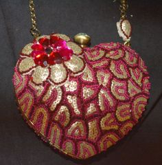 Mary Frances Heart to Heart Red sequin Pink Bag Purse fabulous fun #MaryFrances #EveningBag