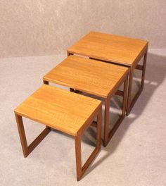 A superb Danish nest of tables teak retro - Eames era 1960's / 70's Wonderful stylish danish design  Quality solid teak construction  Beautiful patina and grain to the teak  Each table fits snugly together