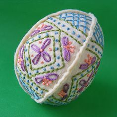 Here's one egg that will last for Easters to come. Colors are just lovely -- free pattern!