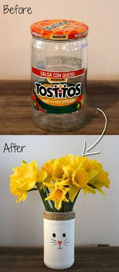 22. Recycled Easter Bunny Vases:Top 27 Cute and Money Saving DIY Crafts to Welcome The Easter
