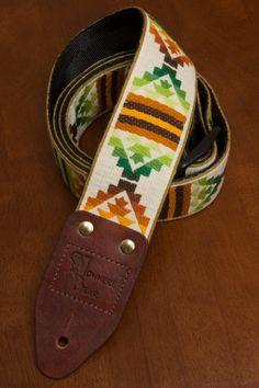 Brown/Green Southwestern style Guitar Strap by nowherebearstraps, $65.00