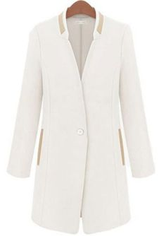 White Stand Collar Long Sleeve Long Blazer pictures
