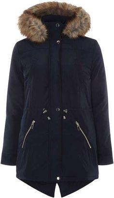 Dorothy Perkins Navy Faux Fur Trim Parka Coat